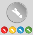 MissileRocket weapon icon sign Symbol on five flat vector image