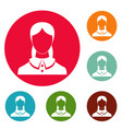 new female avatar icons circle set vector image vector image