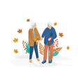 old couple walking flat style autumn fall vector image