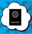 passport sign black icon in vector image