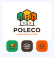 poly colorful house home in negative space logo vector image