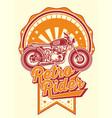retro rider with motorbikes vintage vector image vector image