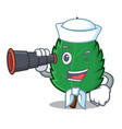 sailor with binocular mint leaves mascot cartoon vector image vector image