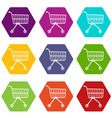 small trolley icons set 9 vector image vector image