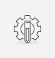 test tube inside gear chemistry concept vector image