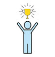 trophy with succes man vector image