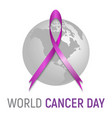 violet satin ribbon cancer prevent vector image