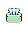 wet napkin in box tissue paper flat color line vector image vector image