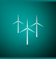 wind turbine icon isolated on green background vector image vector image