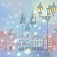 winter Christmas Old Town square in Prague vector image
