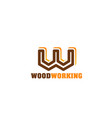 woodworking emblem for carpentry and woodwork shop vector image