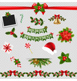 xmas big collection transparent background vector image vector image