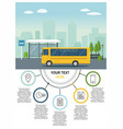 yellow bus at the bus stop on background of city vector image vector image