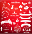Christmas Symbol Set With Red Bokeh Background vector image