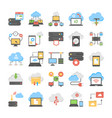 web hosting and cloud computing flat icons pack vector image