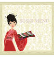 Asian girl enjoy traditional Japanese food vector image