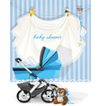 baby shower blue card vector image vector image