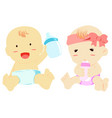 baby with nursing bottle vector image vector image