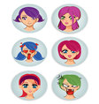 badges with manga girl faces vector image vector image