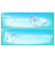 banners with breathable soft eye contact lenses vector image vector image