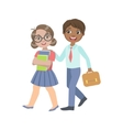 Boy And Girl Walking From School Together vector image