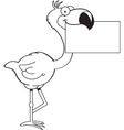 Cartoon flamingo holding a sign vector image vector image