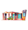 cartoon gas station with green car vector image vector image