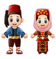 cartoon turkish couple wearing traditional costume vector image vector image