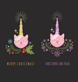 cat with horn unicorn vector image vector image