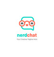 chat logo with glasses and happy face vector image vector image