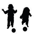 child with ball in black vector image vector image