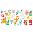 christmas magic animal prints and other elements vector image vector image