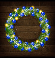 christmas wreath on wooden background vector image vector image