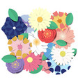 colorful blooming flowers background vector image vector image