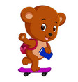 cute bear holding book and playing skateboard vector image vector image