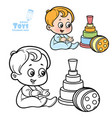 cute cartoon toys badoll toy pyramid and ball vector image vector image