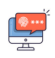 desktop computer with unlocked via fingerprint vector image vector image