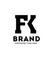 fk letter monogram strong and bold logo vector image vector image