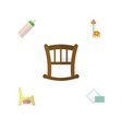flat icon infant set of toy napkin toilet and vector image vector image