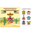 flat welcome to mexico colorful concept vector image vector image