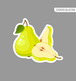 green fresh pear isolated sticker vector image vector image