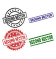 grunge textured second sector seal stamps vector image vector image