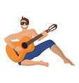 guy plays guitar in hiking vector image vector image