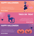 halloween horizontal congratulation banners set vector image