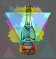 hand drawing champagne bottle vector image vector image