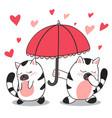 happy valentines day cute cat is umbrella vector image
