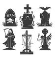 headstones death symbols vector image
