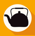 icon tea maker on white circle with a long shadow vector image vector image