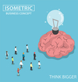 Isometric business people big brain and light bulb vector image