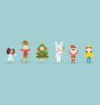 kids wearing christmas costumes funny and cute vector image vector image